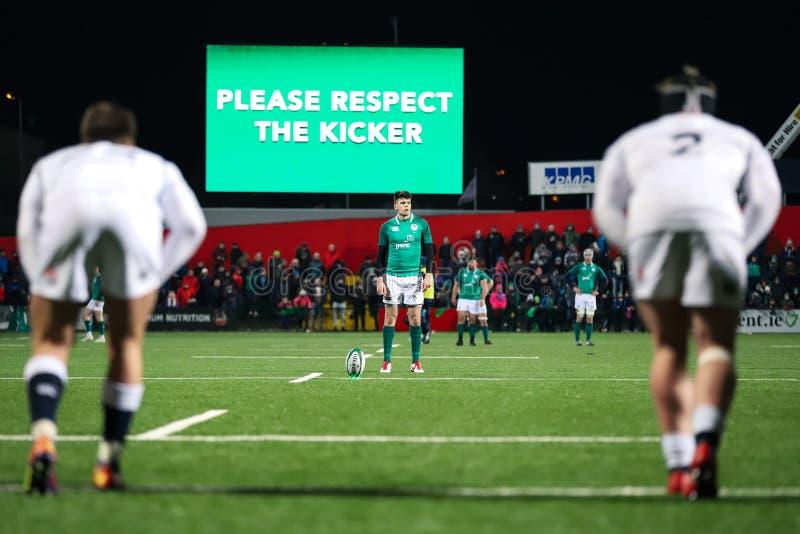 Harry Byrne bij de Onder 20 Zes Naties past tussen Ierland en Engeland aan bij het Irish Independentpark royalty-vrije stock foto