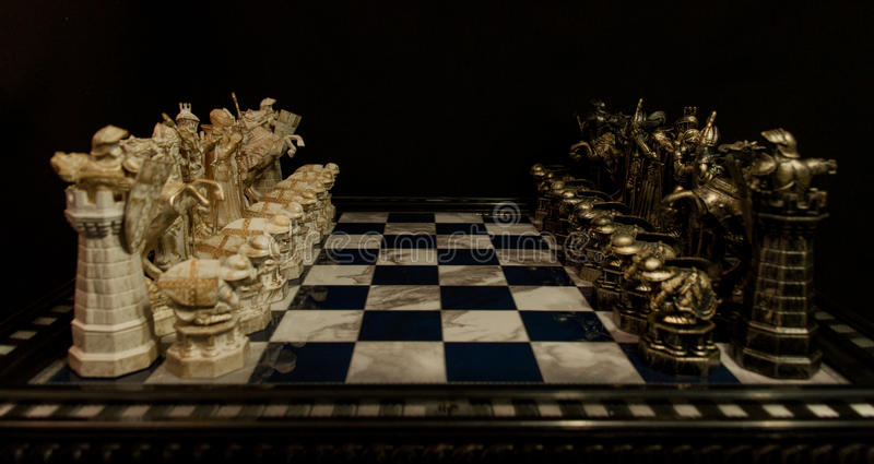 Harry Potter Chess. All chess figure of Harry Potter chess on chessboard stock photos
