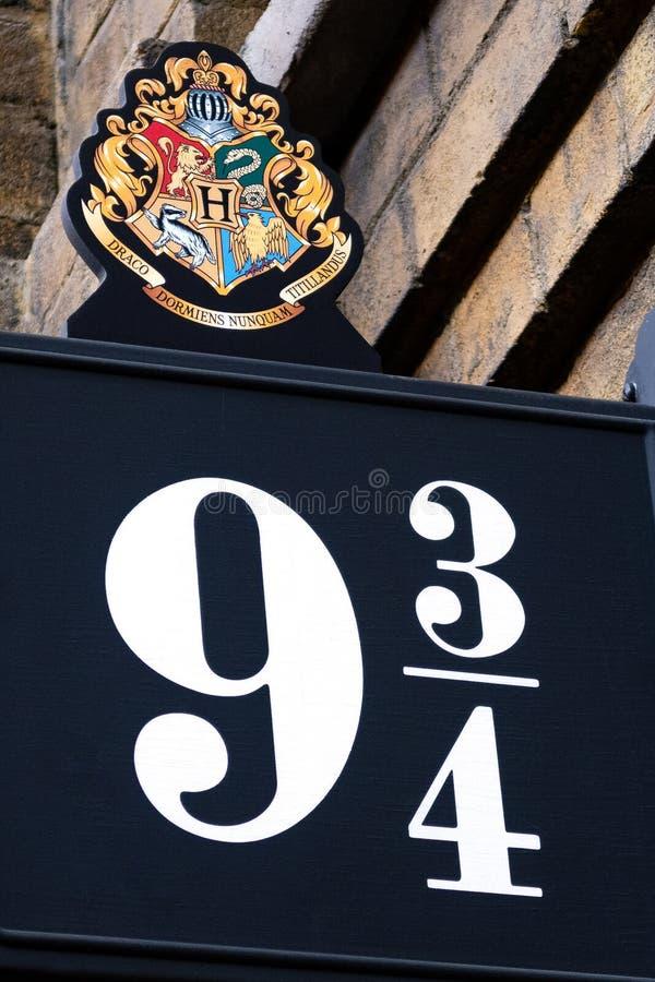 Harry Potter 9 3/4 de reyes Cross Station Closeup imágenes de archivo libres de regalías