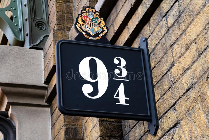 Harry Potter 9 3/4 des Rois Cross Station images stock