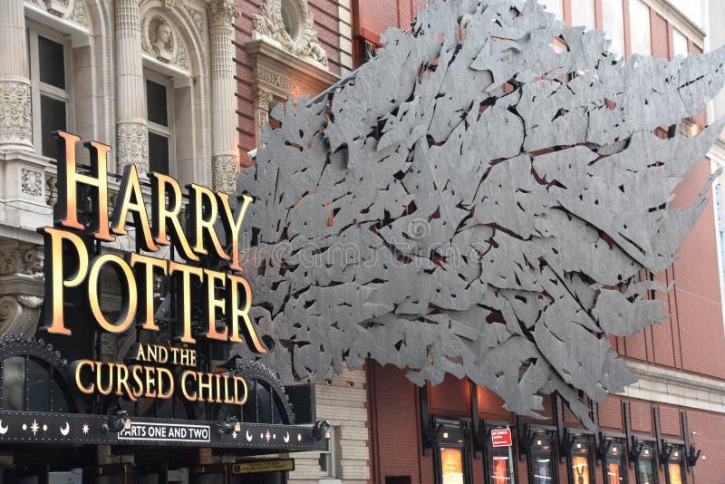 Harry Potter e a criança maldita em Broadway em New York imagem de stock royalty free