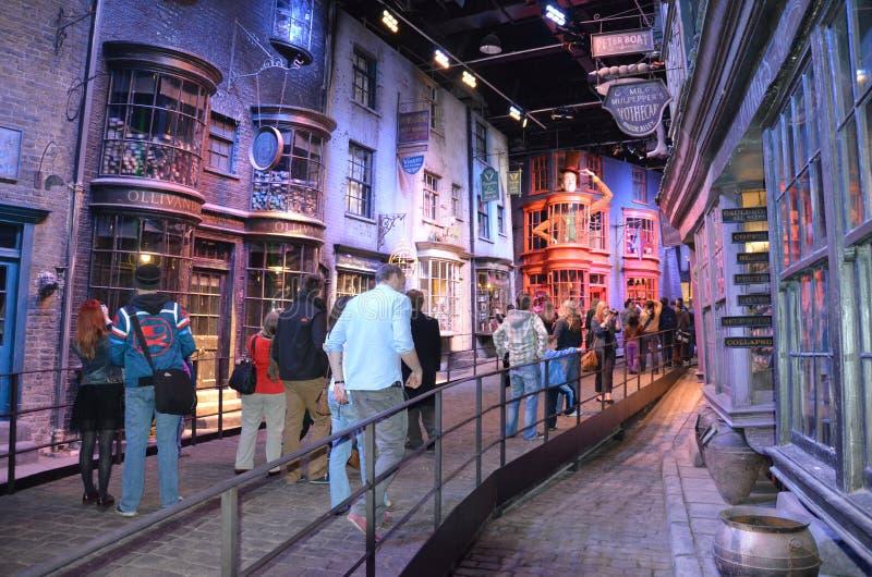 Harry Potter exhibition, Warner Bros studio. London, UK - 21st September 2012: Tourists at Diagon Alley where Harry Potter was filmed at the Warner Bros. studio stock photos