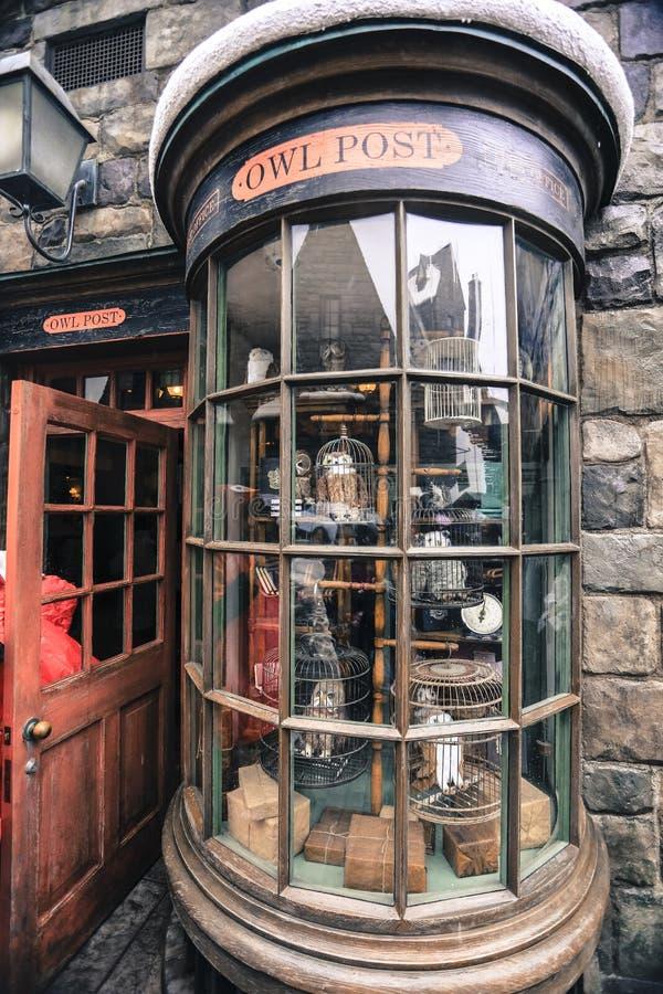 Harry Potter-het kasteel van de tovenaars de oude school middeleeuwse architectuur Osaka Japan van de de bouwkerk royalty-vrije stock afbeelding