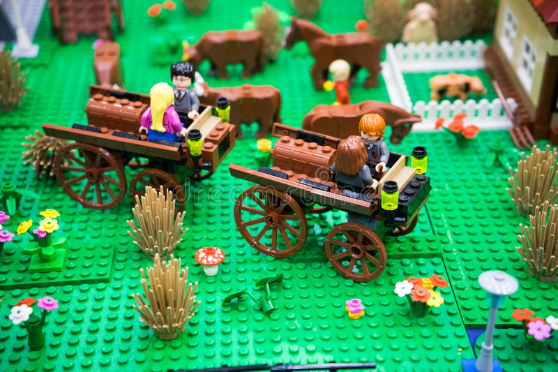 Harry Potter lego. Harry potter movie characters made up of lego bricks on display during the 2015 Gold Coast Brick Event in the Gold Coast in Australia stock photos
