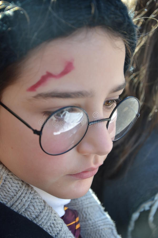Harry Potter lookalike - carnival. Carnival, child dressed as Harry Potter character Event: carnival Grande Sfilata del Carnevale Monfalconese date: February stock image