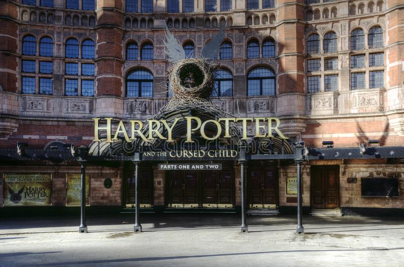 Harry Potter performance at the Palace Theatre, London. Notice about the show Harry Potter and the Cursed Child at the Palace Theater in London royalty free stock photography