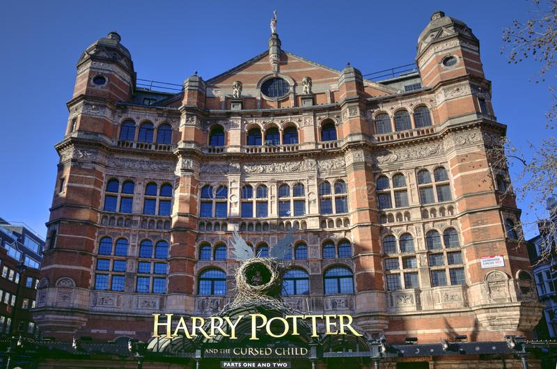 Harry Potter performance at the Palace Theatre, London. Notice about the show Harry Potter and the Cursed Child at the Palace Theater in London stock photography
