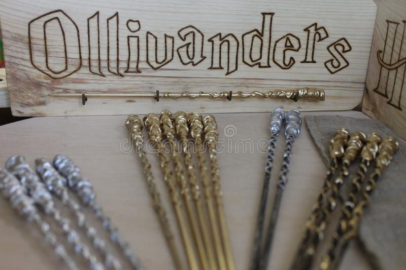 Harry Potter wizard wands. Photo of wizard wands from Harry Potter film royalty free stock images