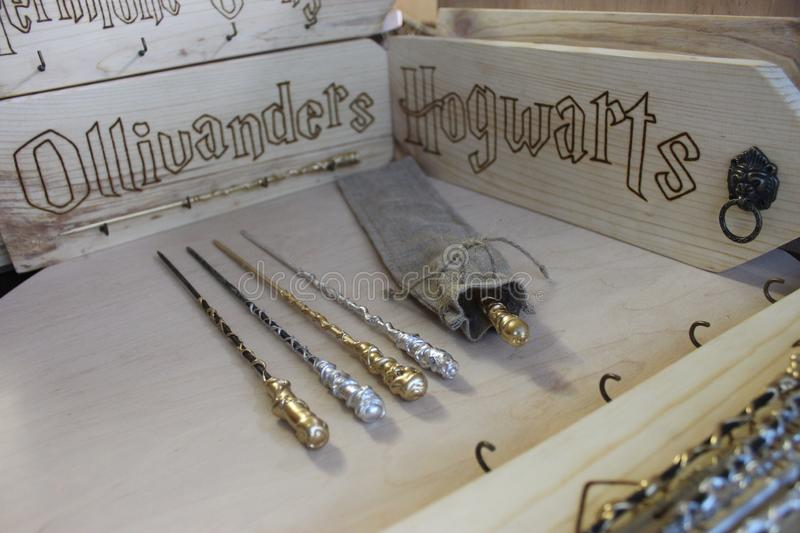 Harry Potter wizard wands. Photo of wizard wands from Harry Potter film stock photography