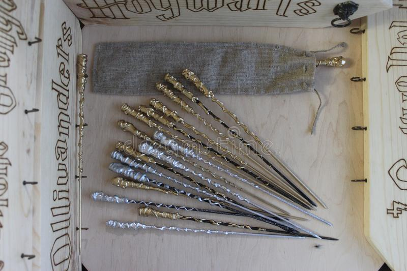 Harry Potter wizard wands. Photo of wizard wands from Harry Potter film stock image