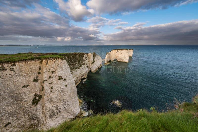 Harry Rocks anziano, costa giurassica, Dorset fotografie stock