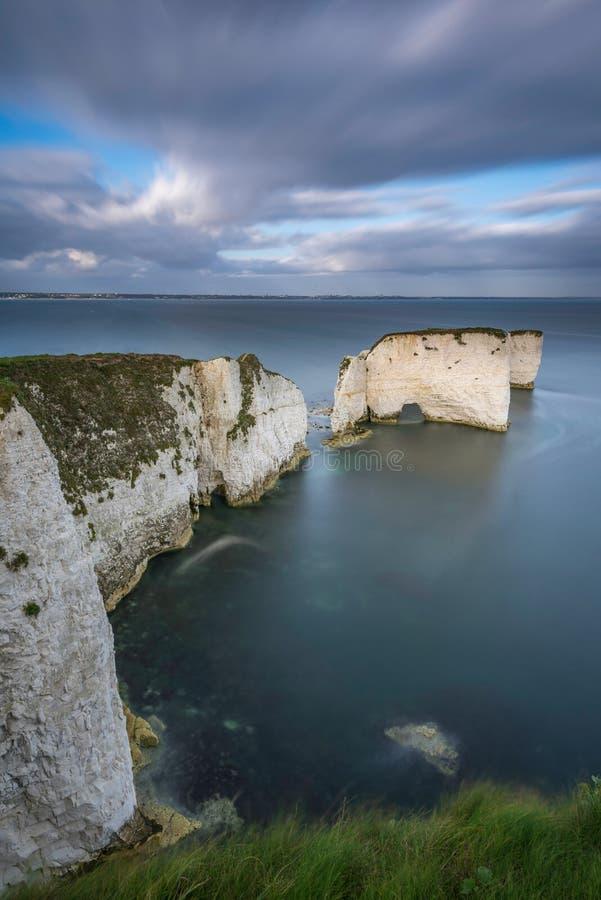 Harry Rocks anziano, costa giurassica, Dorset, Inghilterra immagini stock libere da diritti