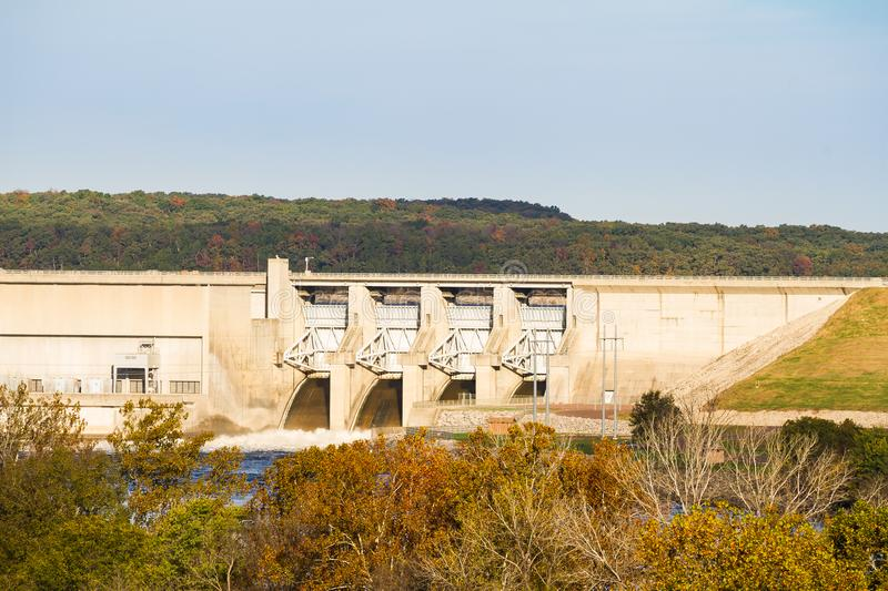Harry S. Truman Dam in Missouri. Harry S. Truman dam in Warsaw, Missouri used to control flooding in the Osage River Valley. It produces electricity through the royalty free stock photo