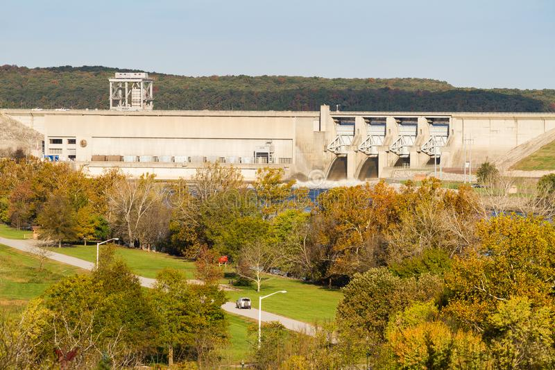 Harry S. Truman Dam in the autumn. Harry S. Truman dam in Warsaw, Missouri used to control flooding in the Osage River Valley. It produces electricity through stock photos