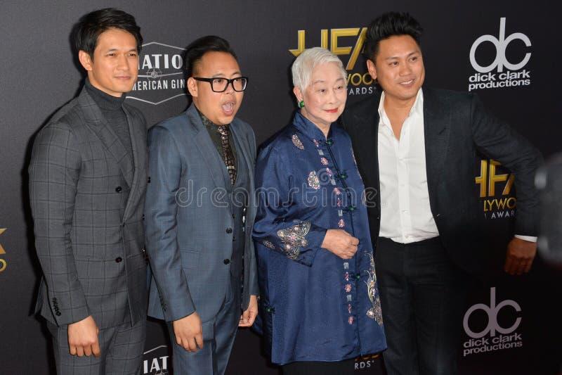 Harry Shum Jr , Nico Santos, Lisa Lu & Jon M Chu royaltyfria bilder