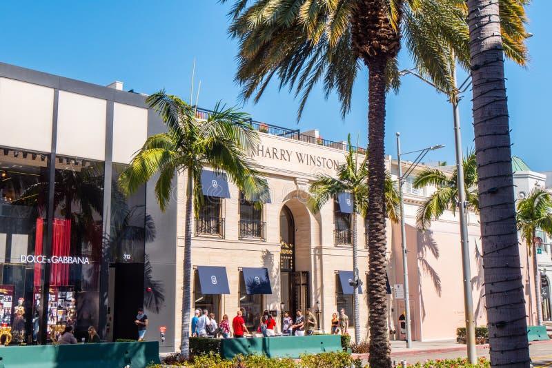 Harry Winston lager p? Rodeo Drive i Beverly Hills - Kalifornien, USA - mars 18, 2019 arkivfoto