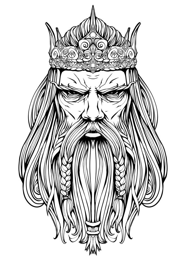 Free Harsh Old King With A Crown Line-art Stock Photos - 123054853