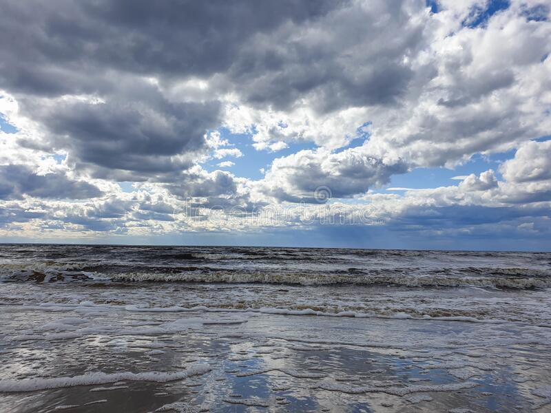 The harsh White sea. Cold summer day on Yagry island, Severodvinsk. Arkhangelsk region stock photography
