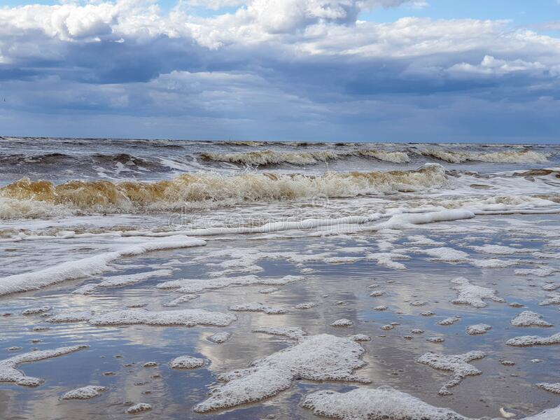 The harsh White sea. Cold summer day on Yagry island, Severodvinsk. Arkhangelsk region royalty free stock photo
