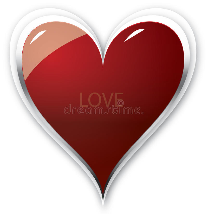 Hart. Full of love in red with shadows and white royalty free illustration