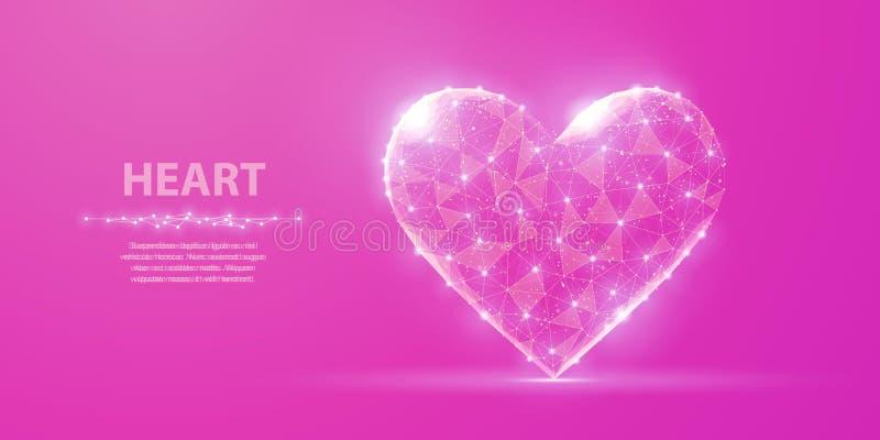Hart Abstract veelhoekig wireframehart op roze achtergrond met punten en sterren royalty-vrije illustratie