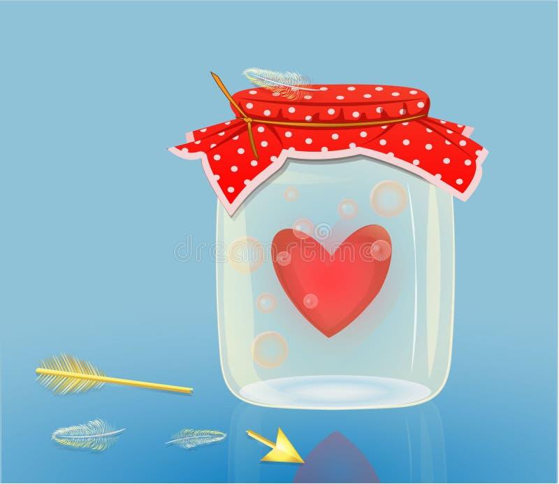 Hart achter glas royalty-vrije illustratie