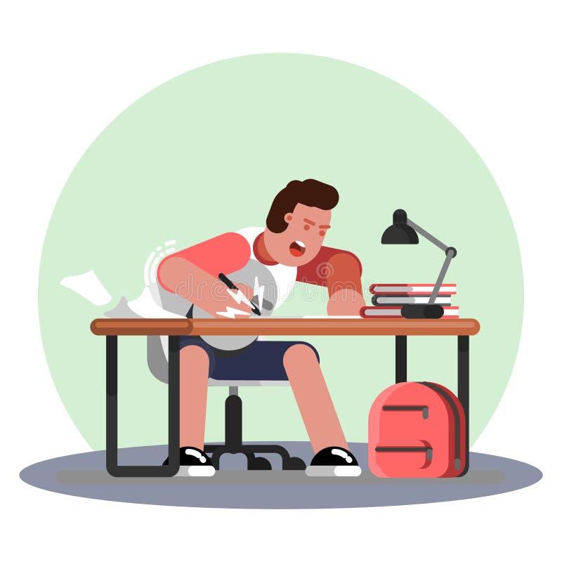 Hart arbeitend und studing Mann stock abbildung