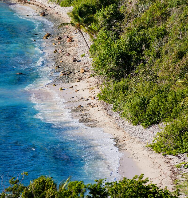 Hart Bay Beach, one of the beautiful beaches on the south shore of St John. USVI stock image