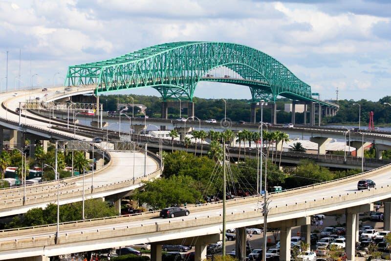 Hart Bridge, Jacksonville, FL arkivbilder