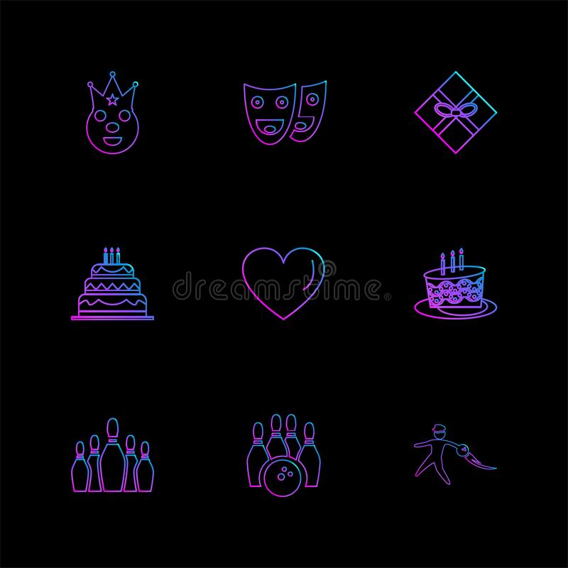 hart, cake, masker, partij, verjaardag, vieringen, annivers stock illustratie