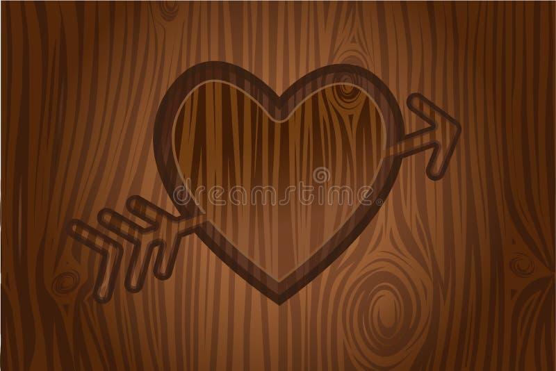Hart dat in boom wordt gegraveerd vector illustratie