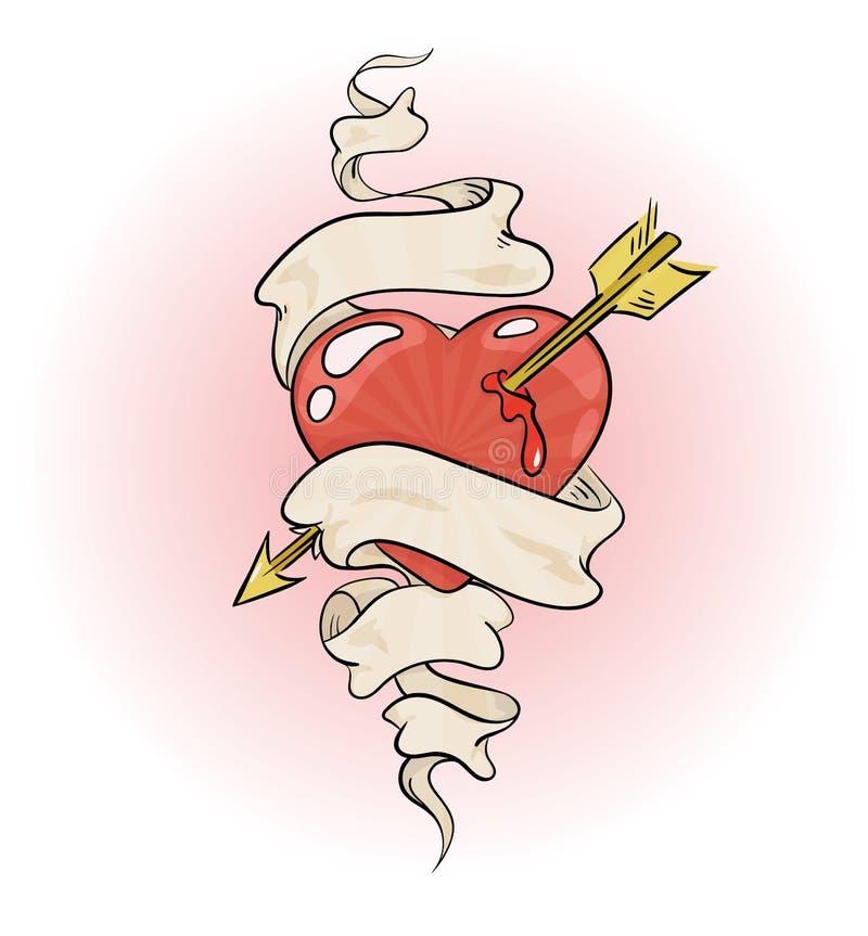 Hart dat door een pijl wordt doordrongen vector illustratie