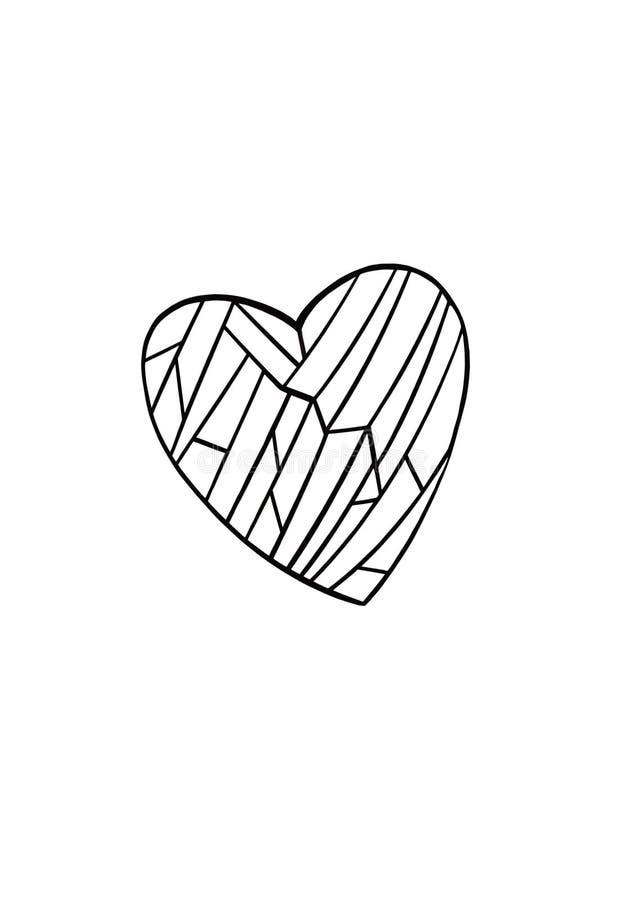 Hart dat met geometrische vormen op een witte achtergrond wordt gevuld vector illustratie