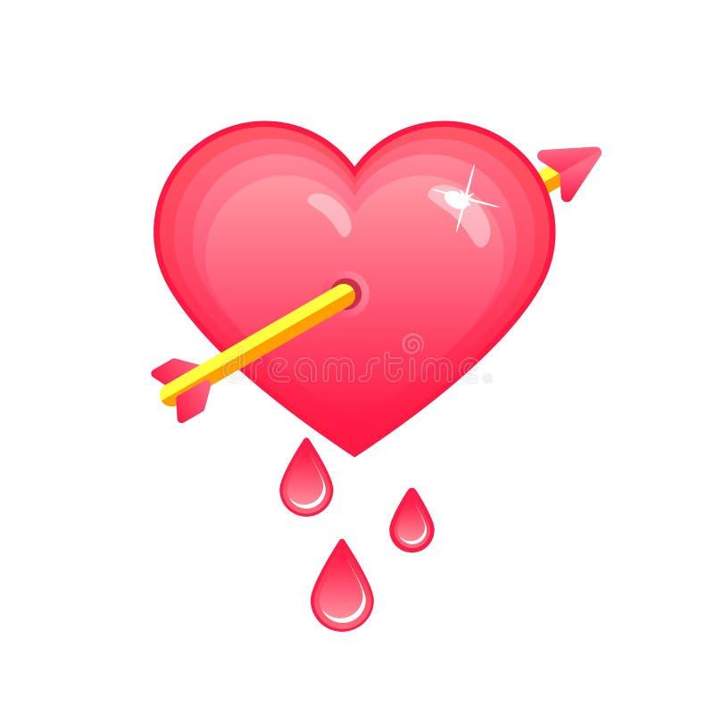 Hart dat met pijl wordt doordrongen Symbool van liefde, de Dagteken van Valentine, de Vectorillustratie van EPS10 royalty-vrije illustratie
