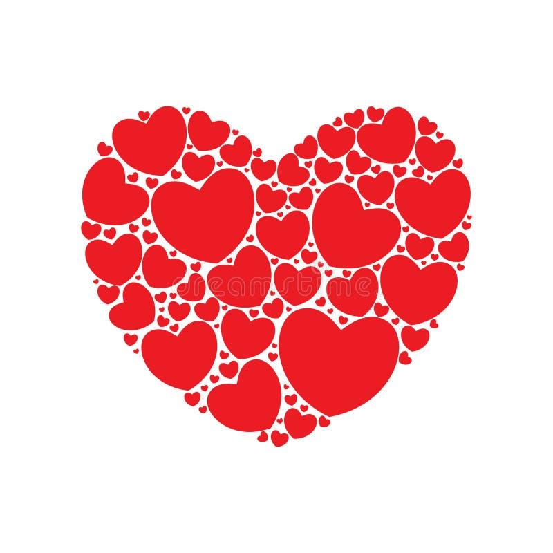 Hart dat met rode harten wordt gevuld stock illustratie