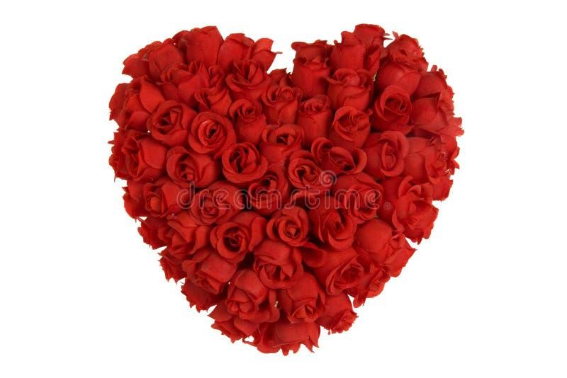 Hart dat van rode rozen wordt gemaakt stock afbeelding
