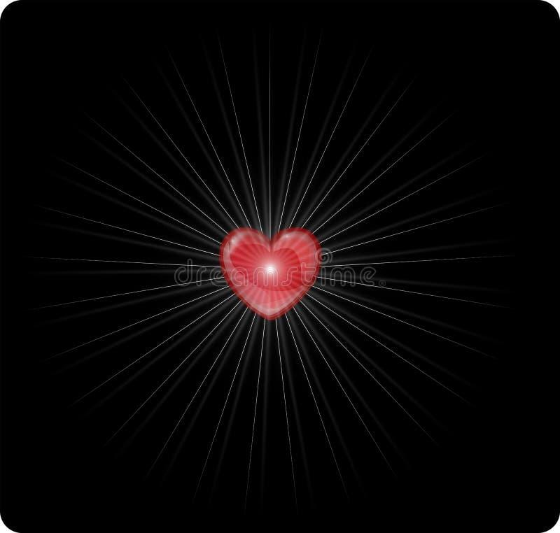 Hart die liefde met met stralen van licht geven royalty-vrije illustratie