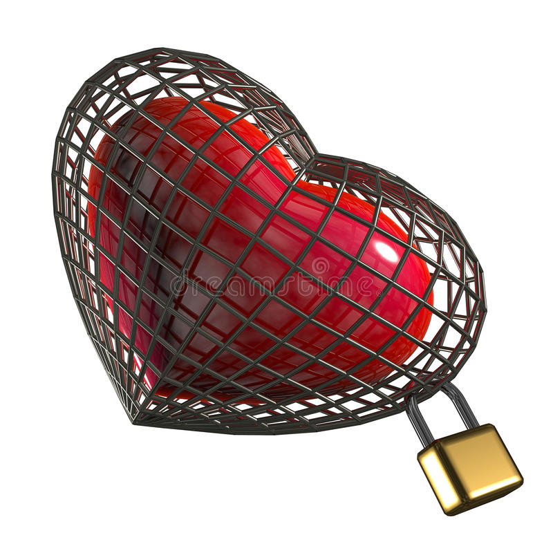 Hart in een kooi met een hangslot. stock illustratie