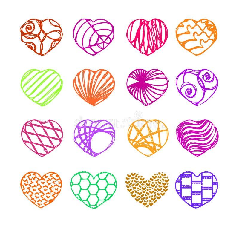 Hart, een reeks van 16 harten, pictogram, stock foto's
