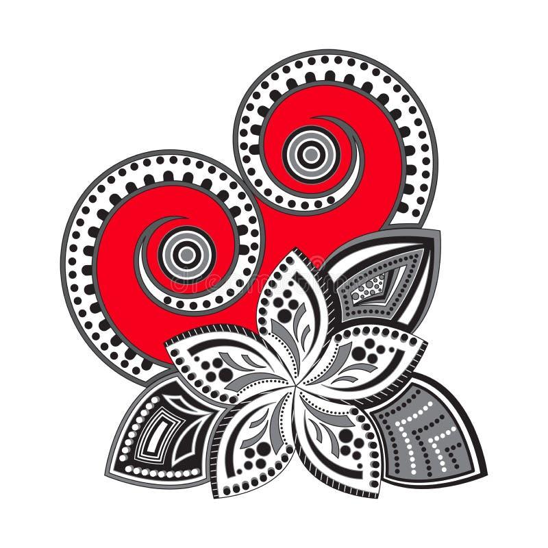 Hart en bloem in zentanglstijl Het symbool van de liefde royalty-vrije illustratie