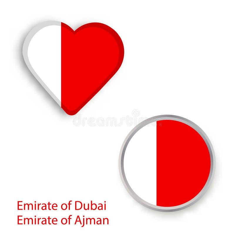 Hart en cirkelsymbolen met de vlag van Doubai en Ajman royalty-vrije illustratie