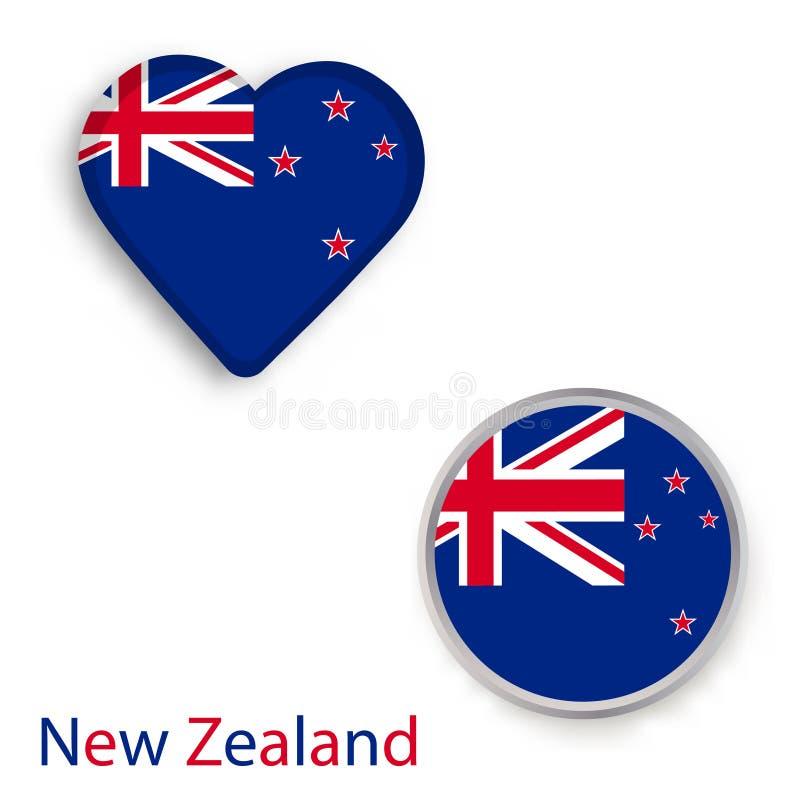 Hart en cirkelsymbolen met vlag van Nieuw Zeeland royalty-vrije illustratie