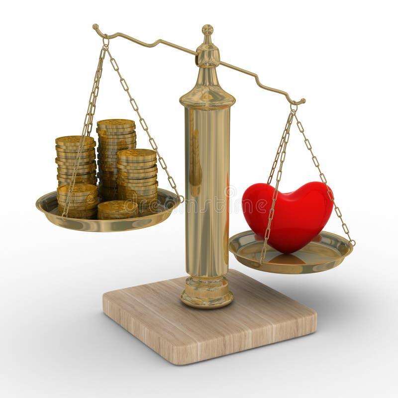 Hart en geld voor schalen vector illustratie