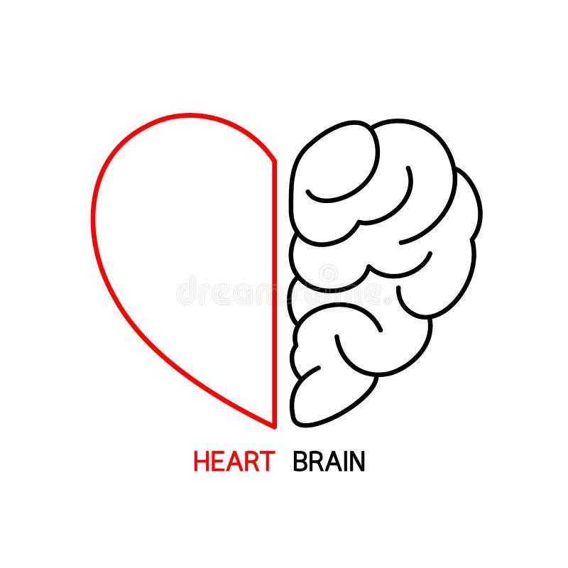 Hart en Hersenenconcept royalty-vrije illustratie