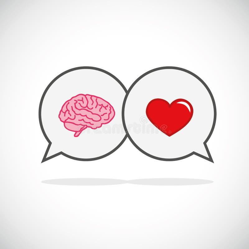 Hart en hersenenconceptenconflict tussen emoties en het rationele denken stock illustratie