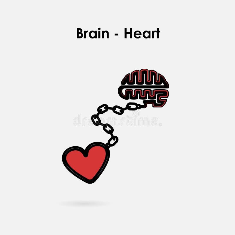 Hart en Hersenenverbindingsconcept Hersenen en hartinteractie stock illustratie