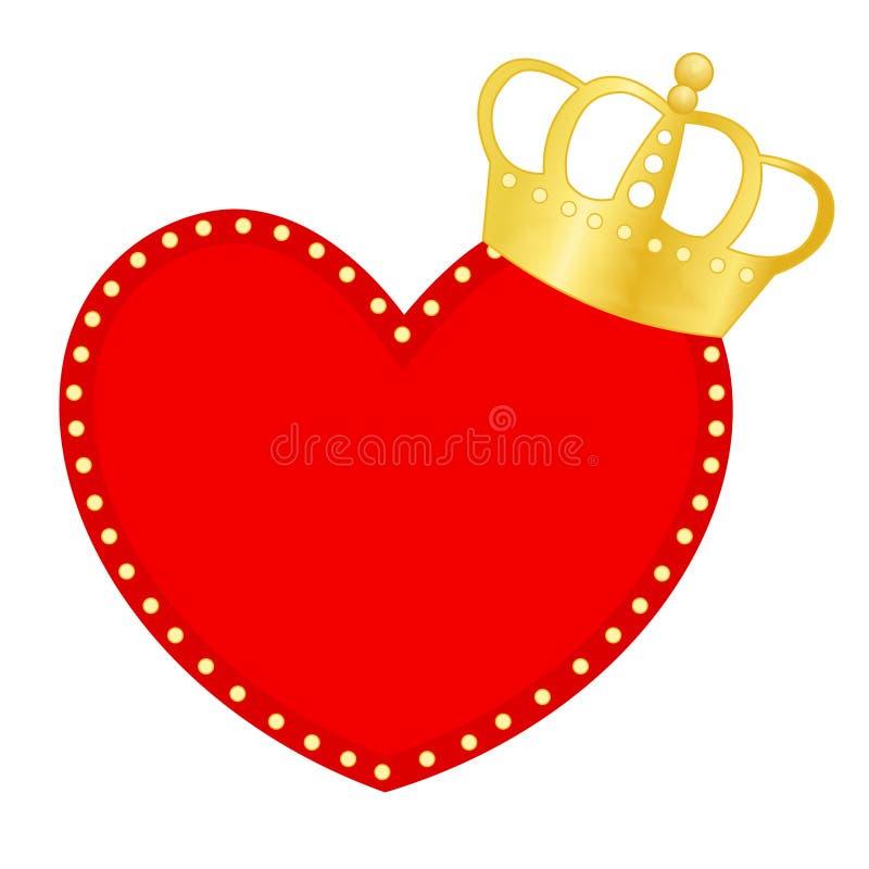 Hart en kroon stock illustratie