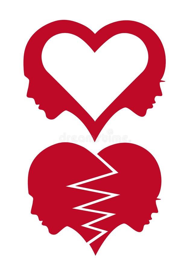Hart en liefdegezichten, vector vector illustratie