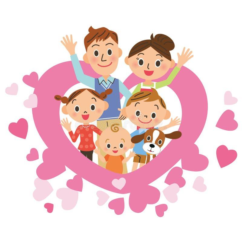 Hart en ouder en kind stock illustratie