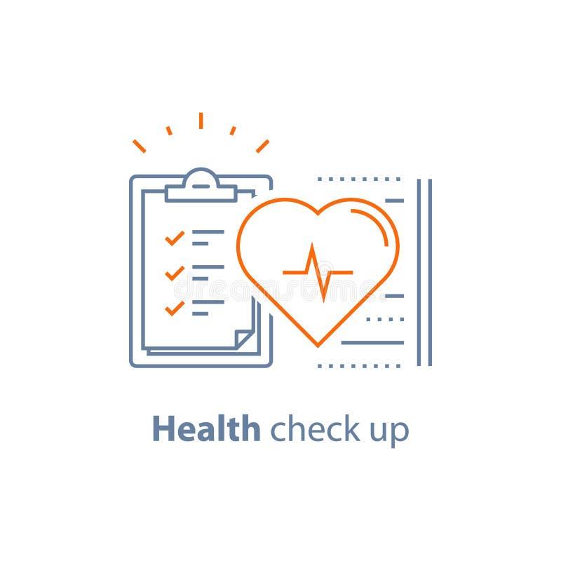 Hart- en vaatziektetest, gezondheidscontrole op controlelijst, kenmerkend hart, de elektrocardiografiedienst, hypertensierisico vector illustratie
